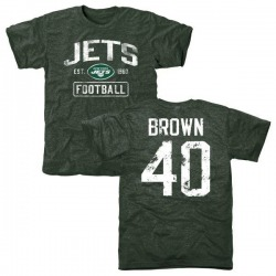 Men's Kyron Brown New York Jets Green Distressed Name & Number Tri-Blend T-Shirt