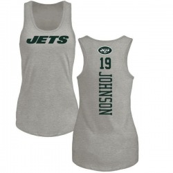 Women's Keyshawn Johnson New York Jets Backer Tri-Blend Tank Top - Ash