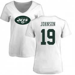 Women's Keyshawn Johnson New York Jets Name & Number Logo Slim Fit T-Shirt - White