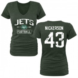 Women's Parry Nickerson New York Jets Green Distressed Name & Number Tri-Blend V-Neck T-Shirt