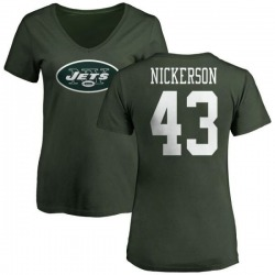 Women's Parry Nickerson New York Jets Name & Number Logo Slim Fit T-Shirt - Green