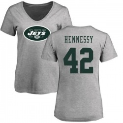 Women's Thomas Hennessy New York Jets Name & Number Logo Slim Fit T-Shirt - Ash