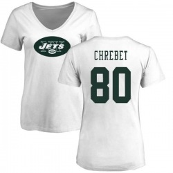 Women's Wayne Chrebet New York Jets Name & Number Logo Slim Fit T-Shirt - White