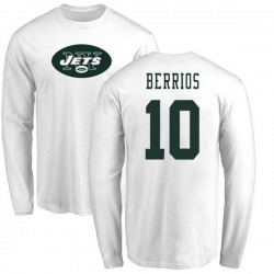 Youth Braxton Berrios New York Jets Name & Number Logo Long Sleeve T-Shirt - White