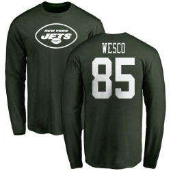 Youth Trevon Wesco New York Jets Name & Number Logo Long Sleeve T-Shirt - Green